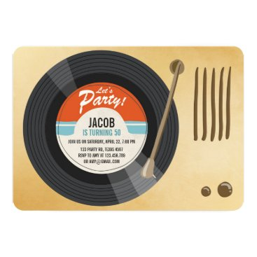 Vintage Vinyl Record Birthday invitation Oldies