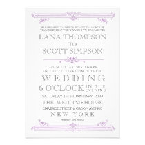 Vintage Violet Moroccan Typography Wedding Invite
