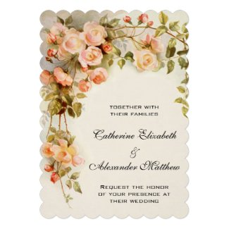 Vintage Wedding, Antique Pink Rose Flowers Floral Personalized Announcements