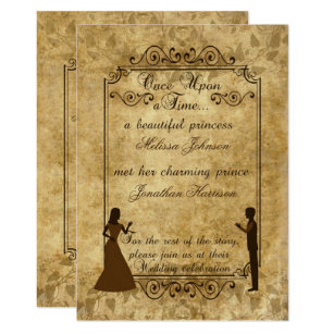 Vintage Wedding Bride Groom Once Upon Time Invite