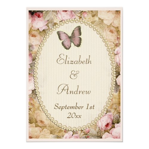Vintage Wedding Roses Butterfly, Music Notes Invitation