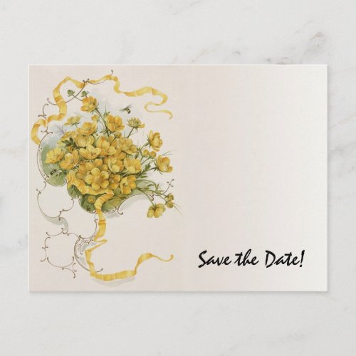 Vintage Wedding Yellow Flower Floral Save the Date Announcement Postcard