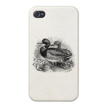 Vintage Wild Mallard Ducks Personalized Template iPhone 4 Case