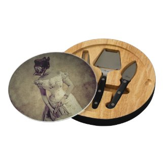 Vintage Woman& Camera Ventana Cheese Board&Tools Round Cheese Board
