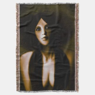 Vintage Woman Painting Throw Blanket