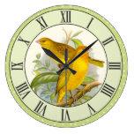 Vintage Yellow Birds Green Polka Dot Border Large Clock