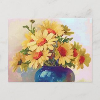 Vintage Yellow Flowers in Blue Vase Postcard postcard