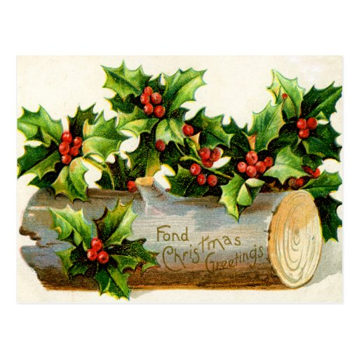 Vintage Yule Log Holiday Postcard Zazzle