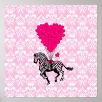 Vintage zebra & pink heart balloons poster