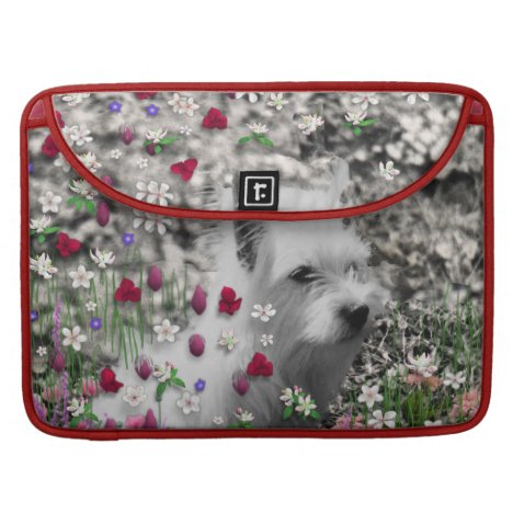 Violet in Flowers – White Westie Dog MacBook Pro Sleeve