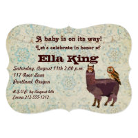 Violet Llama & Owl Floral Baby Invitation
