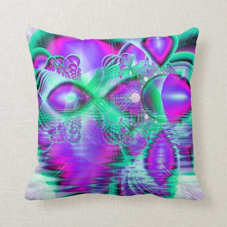Violet Peacock Feathers, Abstract Crystal Mint Throw Pillow