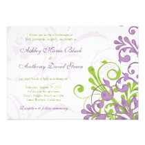 Violet Purple Lime Green Floral Wedding Invitation