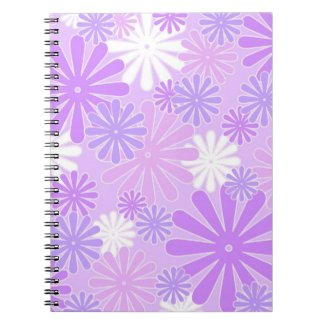 Violet white flowers note books