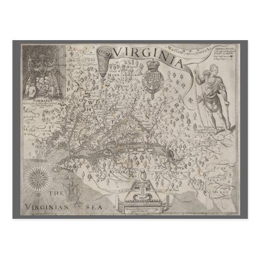 Virginia Colony Antique Map by Capt. John Smith Postcard ...