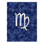 Virgo Zodiac Sign on Navy Blue Digital Camouflage Postcard