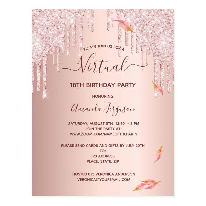 virtual 18th birthday rose gold glitter invitation postcard zazzle com