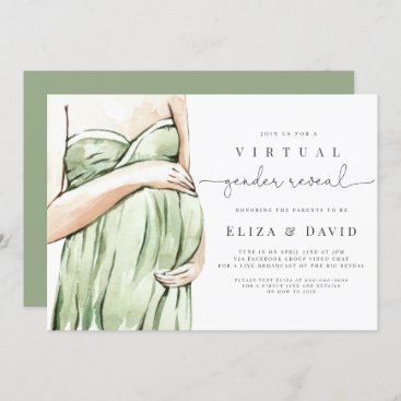 Virtual Gender Reveal Sage Green Boho He Or She Invitation