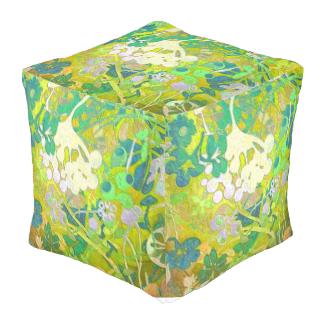 Wacky Retro Floral Cube Pouf