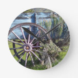 Wagon Wheel Round Clock