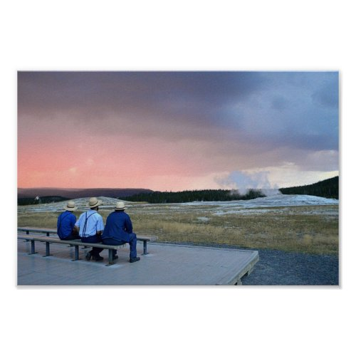 Waiting for Old Faithful Geyser at Sunset Poster