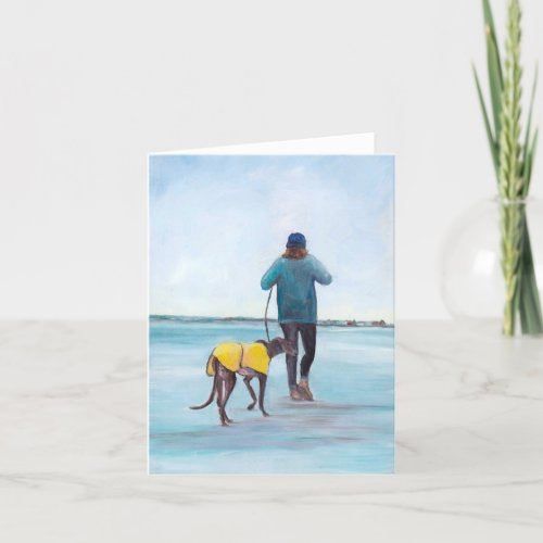 Walking y Greyhound Dog Art Note Card