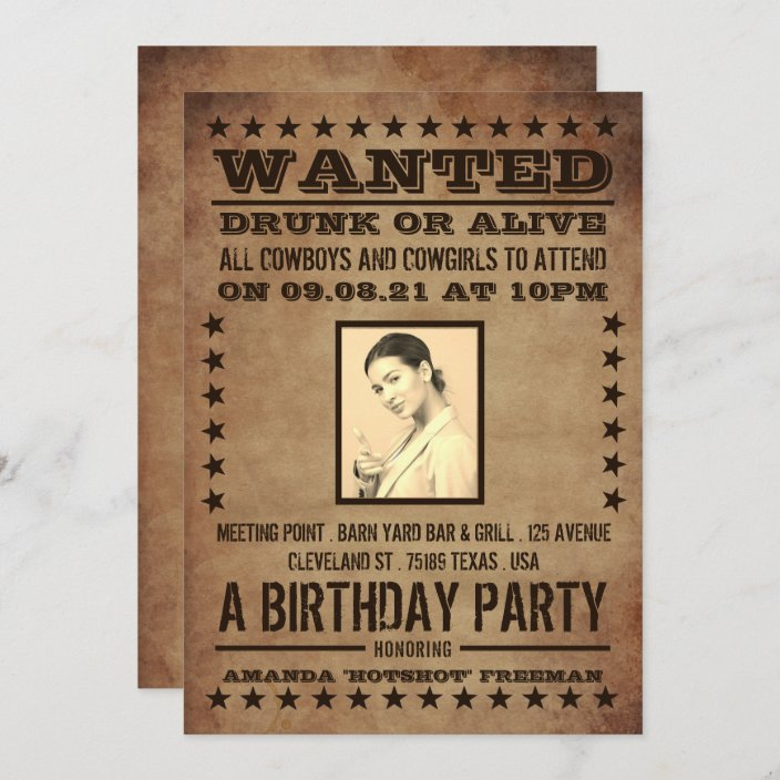 wanted poster classic western birthday invitation zazzle com