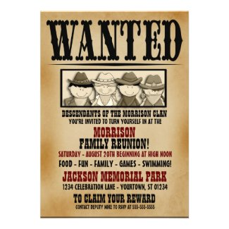 Wanted Poster Family Reunion Invitation
