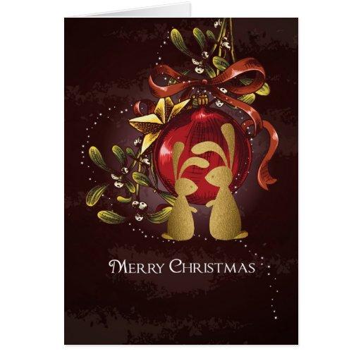 Warm Charming Bunnies N Mistletoe Merry Christmas Card