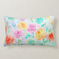 Watercolor Abstract Ranunculus Pillow Cushions
