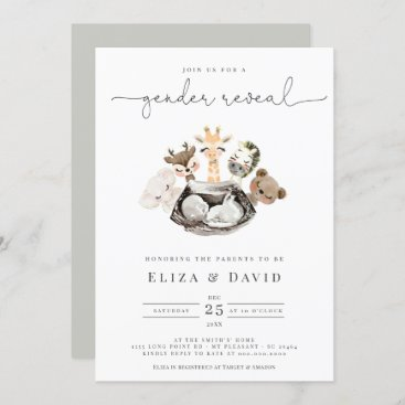 Watercolor Animals Faux Modern Gold Gender Reveal Invitation