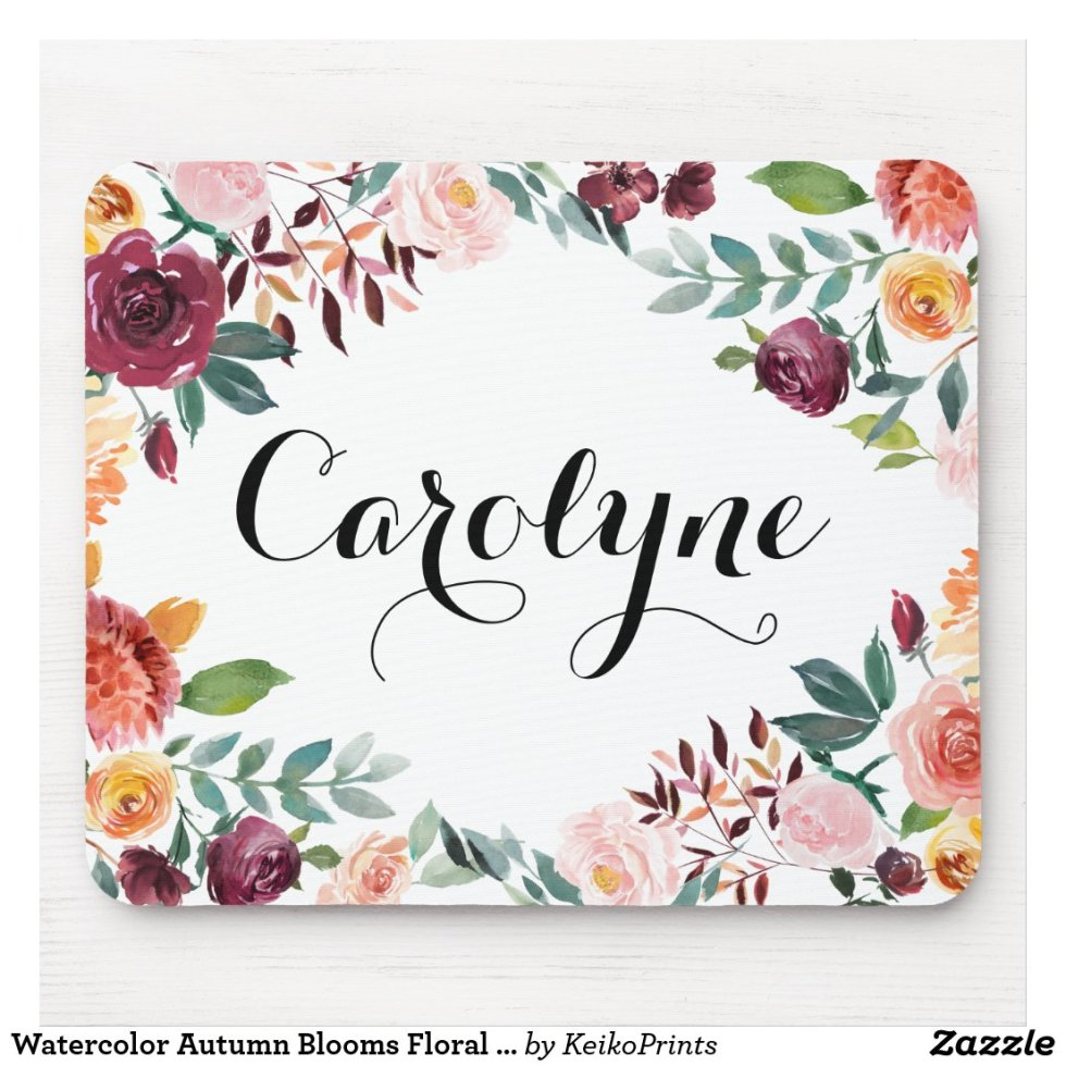 Watercolor Autumn Blooms Floral Personalized Mouse Pad