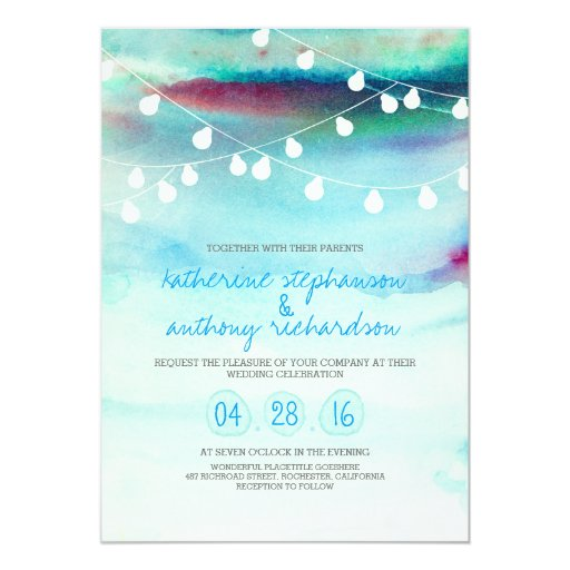 watercolor beach string lights wedding invitation