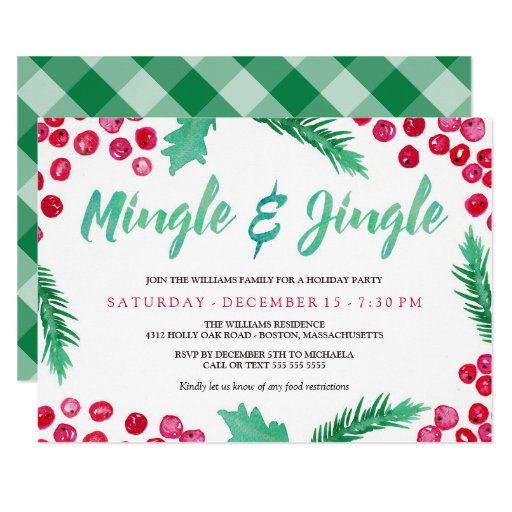 Watercolor Berries Mingle & Jingle Holiday Party Invitation