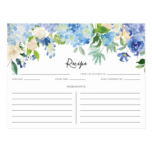 Watercolor Blue and Purple Hydrangeas Recipe Card