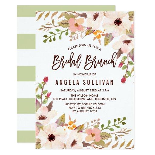 Watercolor Bohemian Flowers Bridal Brunch Card