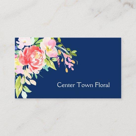 Watercolor Bouquet on Navy Blue Florist Business Card