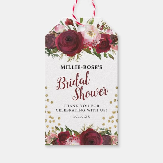 Watercolor Burgundy Bridal Shower Favor Gift Tags
