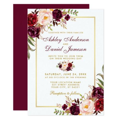 Watercolor Burgundy Floral Gold Wedding Invitation