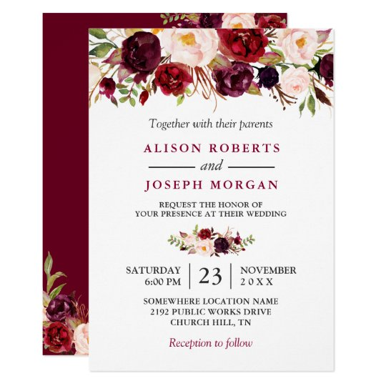 Watercolor Burgundy Red Fl Rustic Boho Wedding Card