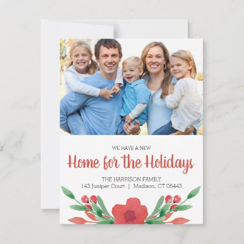 Watercolor Christmas Floral Photo New Address Holiday Card