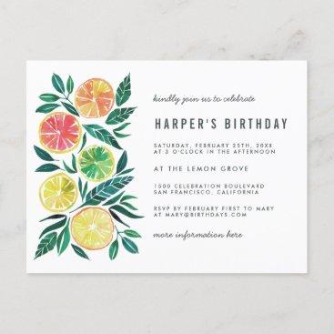 Watercolor Citrus Modern Birthday Party Invitation