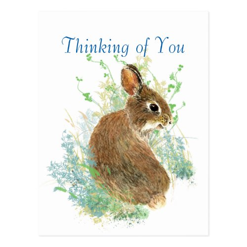 Watercolor Cute Bunny Rabbit Thinking of You Postcard
