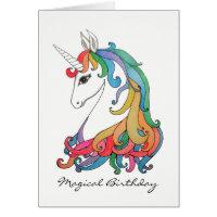 Watercolor cute rainbow unicorn card