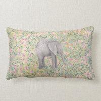 Watercolor Elephant Flowers Gold Glitter Lumbar Pillow