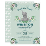 Watercolor Elephant Mint Green Floral 1st Birthday Invitation