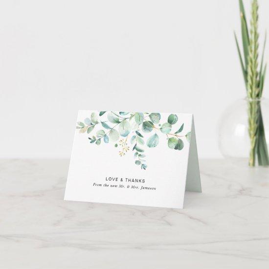 Watercolor Eucalyptus Greenery Thank You Card