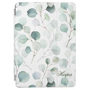 Watercolor Eucalyptus Pattern Personalized iPad Air Cover