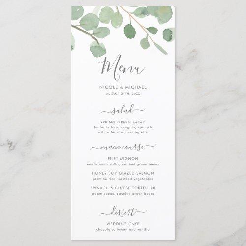 Watercolor Eucalyptus Wedding Menu