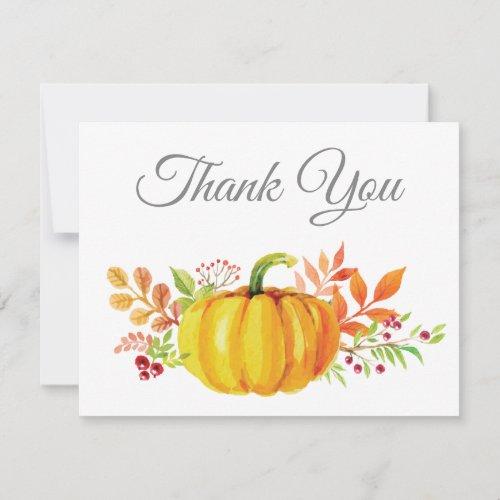 Watercolor Fall Pumpkin Thank You card